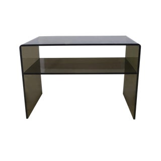 1970s Minimalist Smoky Lucite Waterfall Table For Sale