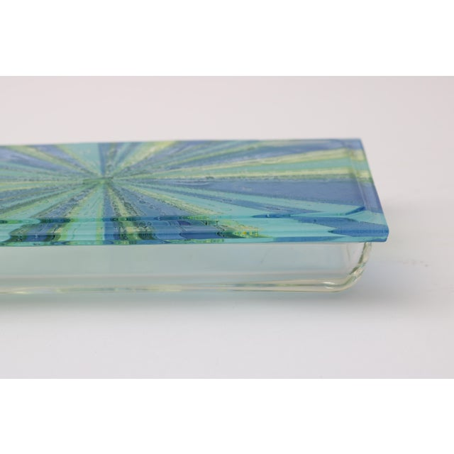Glass William Higgins Artisan Blue & Green Glass Box For Sale - Image 7 of 7