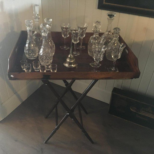 "Geo III mahogany butlers tray on stand, perfect for a bar, great color, patina. Height to surface is 32"" and to top of..."