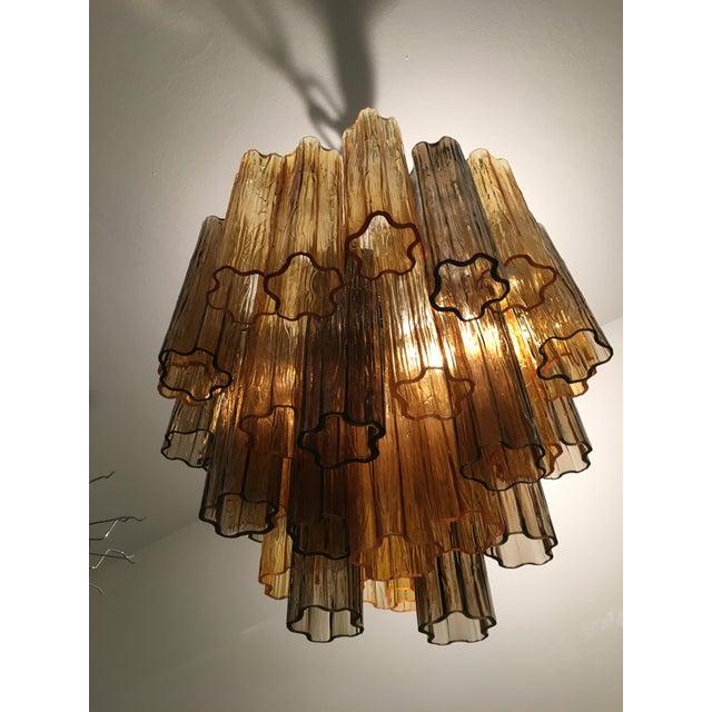 "Contemporary Murano Glass ""Tronchi"" chandelier. Metal frame kromo. Very rare dark grey and amber tronchi murano glass..."