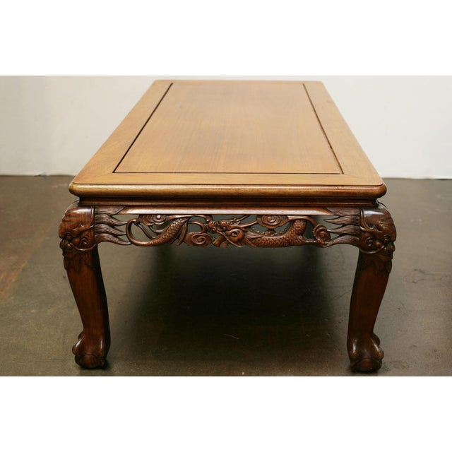 Asian Chinese Carved Hardwood Coffee Table, Early 20th Century For Sale - Image 3 of 4