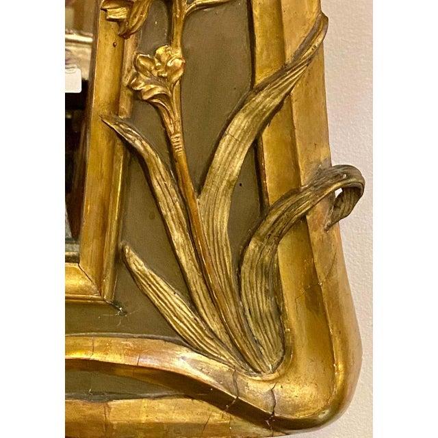 Belle Époque Style Wall or Over Mantel Mirror Art Nouveau Form For Sale - Image 12 of 13