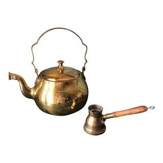 Antique Brass Tea Pot and Creamer** - 2 Piece Set For Sale