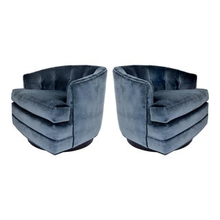 Newly Upholstered Milo Baughman Directional Swivel Club Chairs-A Pair For Sale