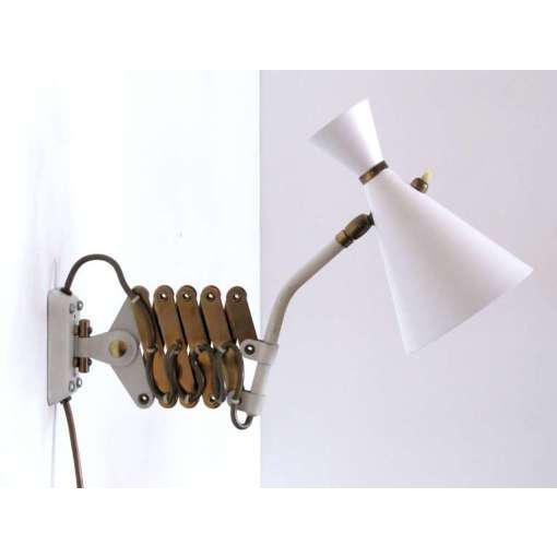 German White and Brass Scissor Lamp - Image 3 of 10