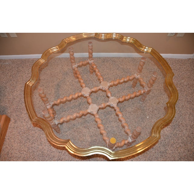 Brass & Glass Scalloped Tray Coffee Table - Image 3 of 4