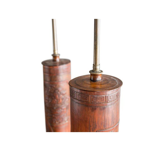 Asian Antique Chinese Carved Bamboo Table Lamps - a Pair For Sale - Image 3 of 8