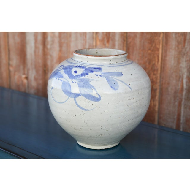 Blue Blue and White Asian Glazed Pot For Sale - Image 8 of 8