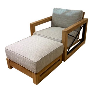 Summer Classics Malta Teak Outdoor Lounge Chair and Ottoman For Sale