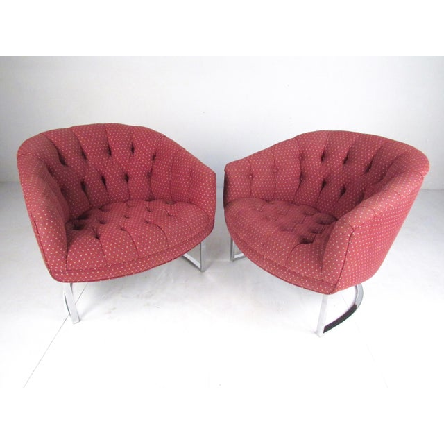 Milo Baughman Pair Vintage Modern Barrel Back Club Chairs For Sale - Image 4 of 13