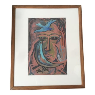 Vintage Mid-Century Modern Abstract Face Bird Painting by William S. Gamble For Sale