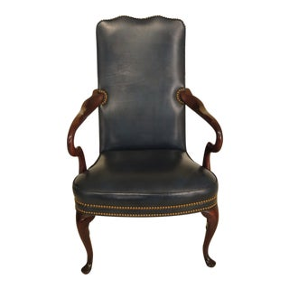 Hancock & Moore Blue Leather Mahogany Library Arm Chair For Sale