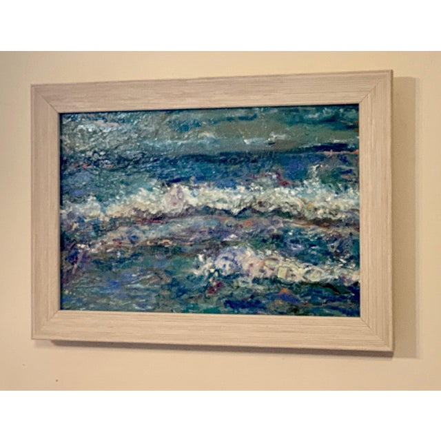 Contemporary Abstract Seascape Original Oil Painting, Framed For Sale - Image 4 of 5