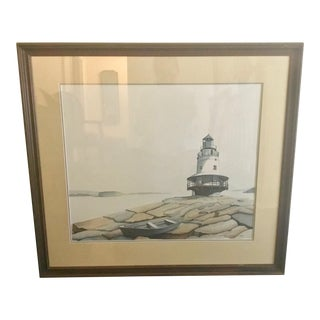 1980s Maine Lighthouse Large Scale Signed Watercolor Painting For Sale