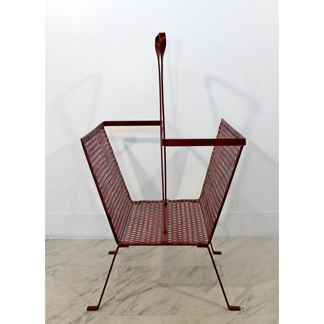 Matthew Mategot Mid-Century Modern Vintage Red Wire Mesh Magazine Rack For Sale - Image 4 of 8