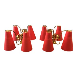 French Copper with Red Shades Wall Sconces- Set of 4 For Sale