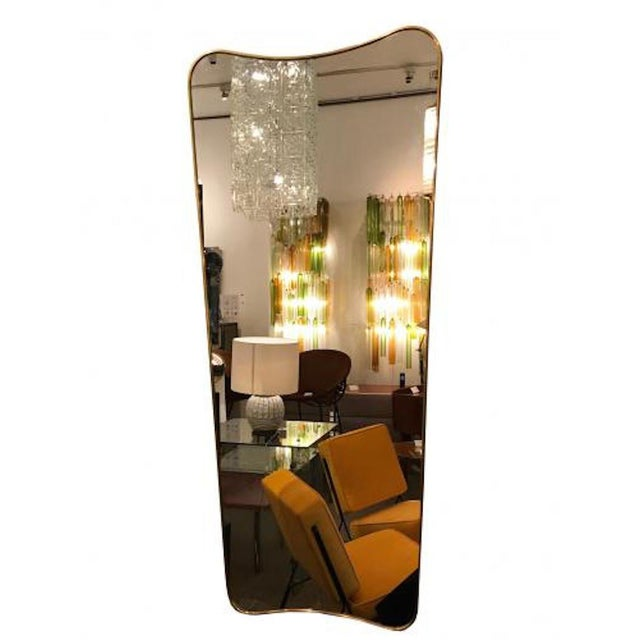 Mid-Century Modern 1950s Gio Ponti Large Scale Mid Century Brass Wall Mirrors - a Pair For Sale - Image 3 of 6