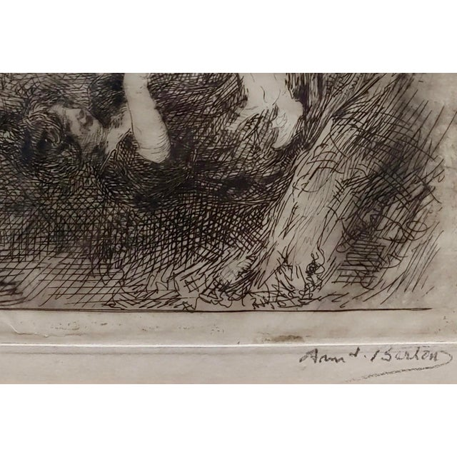 Armand Berton - Mother & Child - Original Etching -C1900s For Sale - Image 4 of 9