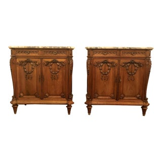 Pair Antique 19th Century French Marble-Top Walnut Commodes. For Sale