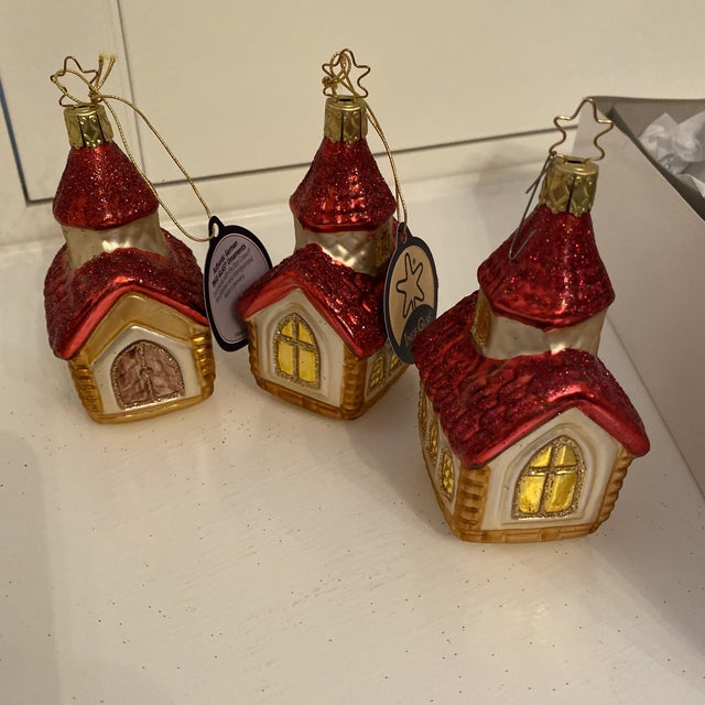 Red Inge Church and House Collection Glass Ornaments - Set of 6 For Sale - Image 8 of 11