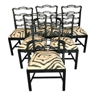 1930s Chippendale Style Ladderback Chairs – Set of 6