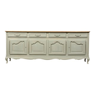 1950's Louis XVI French Provincial-Style Buffet Gray Painted With Curly Maple Top For Sale