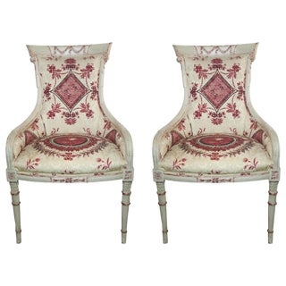 Vintage Painted Armchairs - a Pair For Sale