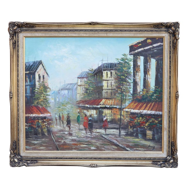 French Street Scene Oil Painting For Sale