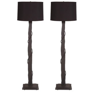 Pair of Brutalist Iron and Copper Floor Lamps For Sale