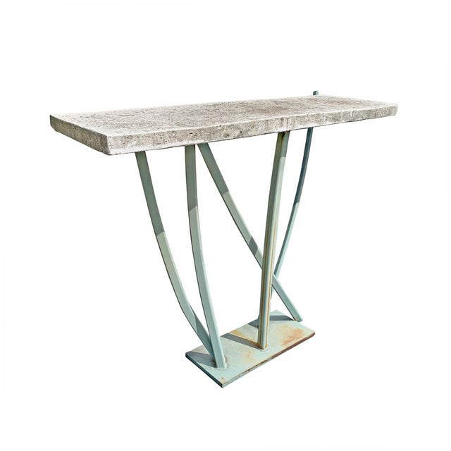Iron and Cast Stone Console Table by Joseph Wesner For Sale - Image 4 of 13