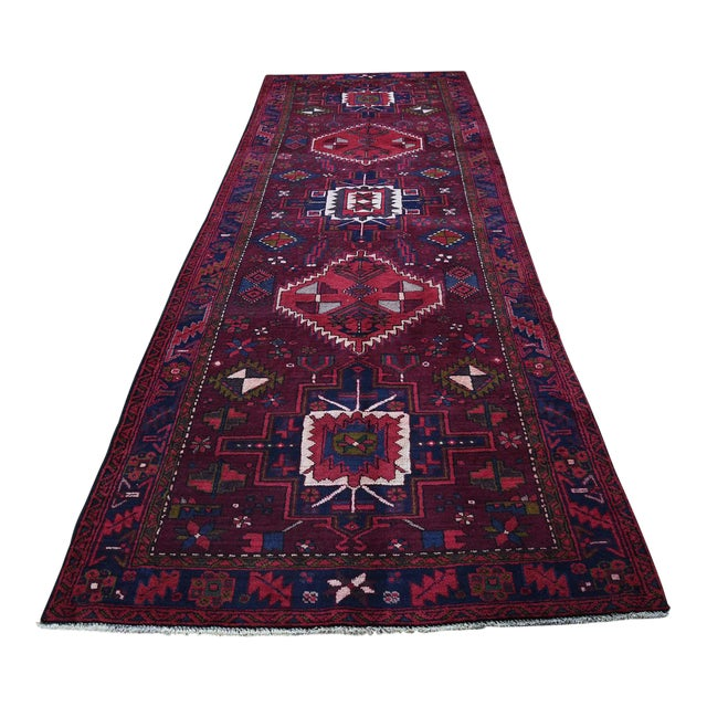 Northwest Persian Heriz Wool Hand-Knotted Runner- 3′10″ × 11′6″ For Sale