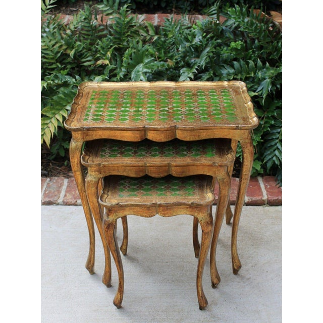 Vintage Italian Gold & Green Tole Nesting Tables Gilt Florentine Set of 3 For Sale - Image 9 of 13
