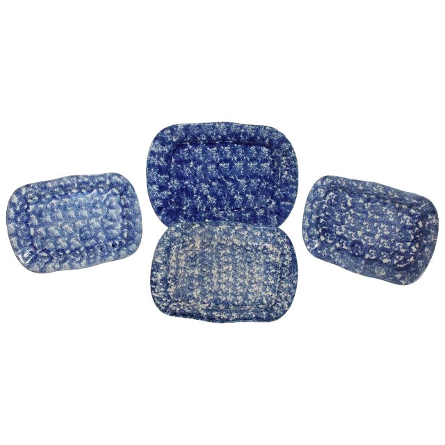 19th Century Sponge Ware Platters - Collection of 4 For Sale
