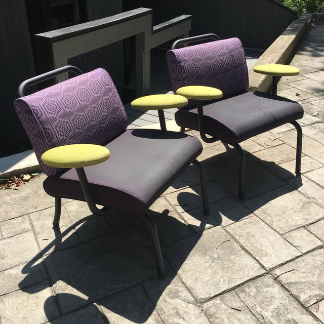 Circa 1980s or 90s Pair Of Lounge Chairs that Capture the time period perfectly. Definitely Unique and have very period...