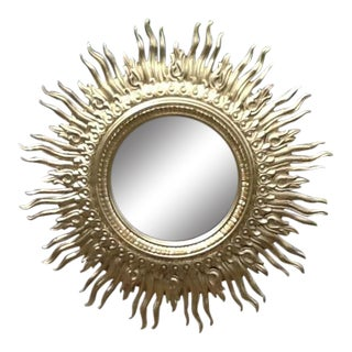 Vintage Syroco Golden Sunburst Framed Wall Mirror For Sale