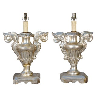 Pair of 19th Century Silvergilt Pricket Base Urn Lamps For Sale