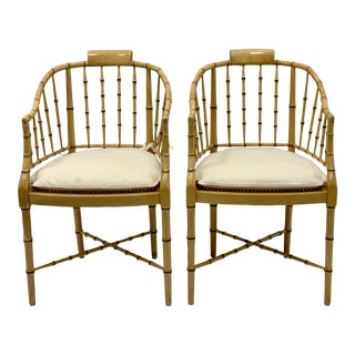 Pair of Faux Bamboo Chippendale Style Chairs by Baker Furniture For Sale