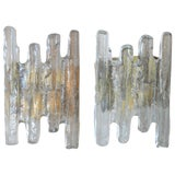 Image of Murano Glass and Brass Sconces - a Pair For Sale