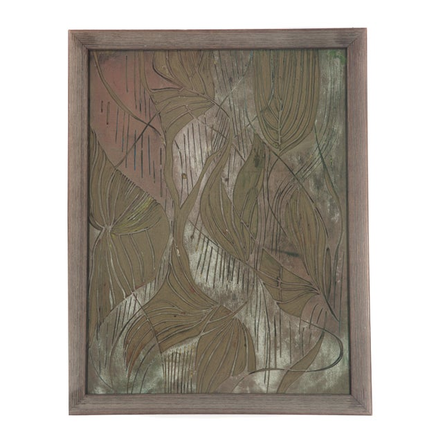Five original 1950s linoleum engravings by Chicago-based artist Helen Leibhardt. Images range from figural to floral to...