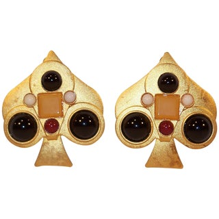 Ace of Spades 1980's Gale Rothstein Clip-On Earrings With Semi Precious Stones For Sale