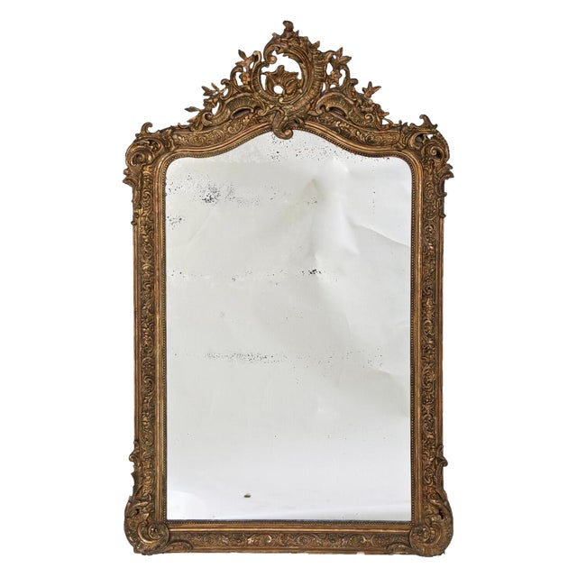 1860 Italian Gilt Wood & Gesso Mirror For Sale