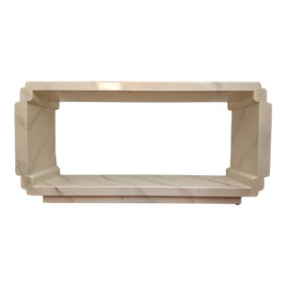 1980s Contemporary Faux Marble-Lacquered Console Table For Sale
