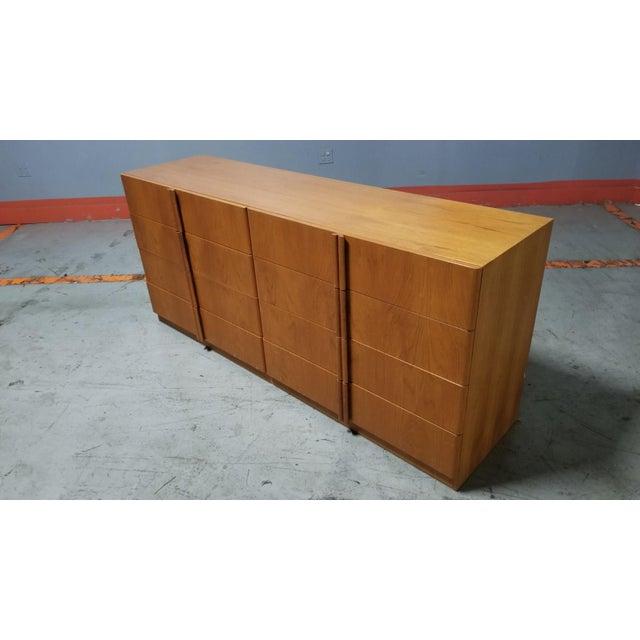 1970s Mid Century Modern Danish 8 Drawer Credenza Dresser For Sale - Image 5 of 12