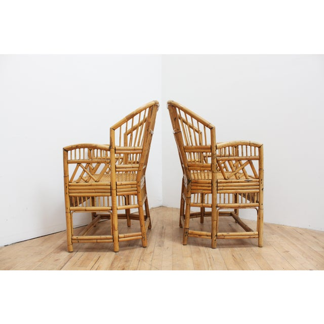 Asian A Pair of Bamboo Brighton Pavilion Chairs - Chinese Chippendale For Sale - Image 3 of 10