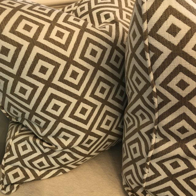 "Boho Chic Geometric Woven Cotton 22"" Pillows - a Pair For Sale - Image 3 of 6"