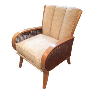 Heywood Wakefield Birch Cane & Upholstered Chair For Sale