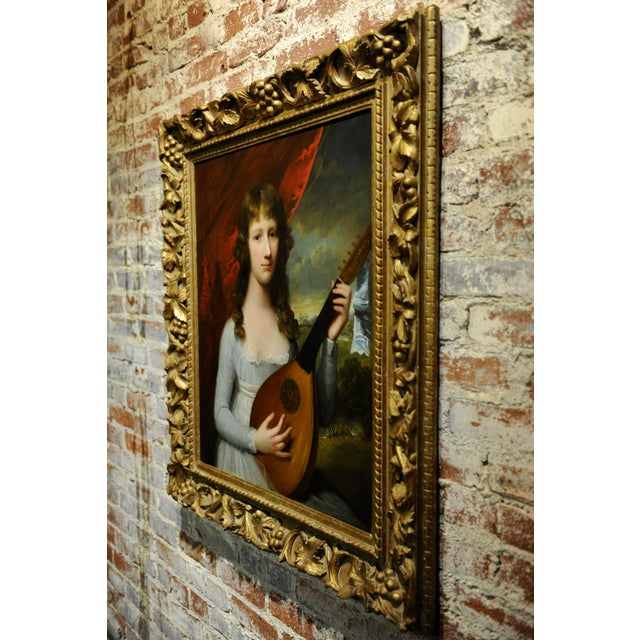 Silver John Singleton Copley -Girl Playing the Lute-18th Century Oil Painting For Sale - Image 8 of 12
