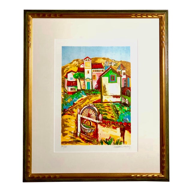 Impressionist Retro Framed Print of a Colonial Town For Sale