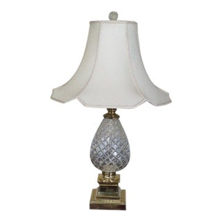 Pineapple Glass and Brass Table Lamp With Shade For Sale