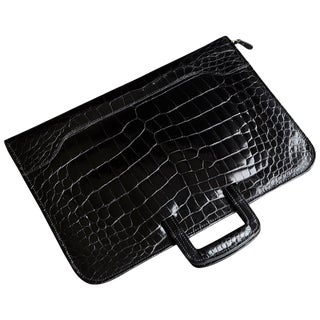 Extremely Rare Black Alligator Belly Folio From the Collection of Ann Turkel For Sale